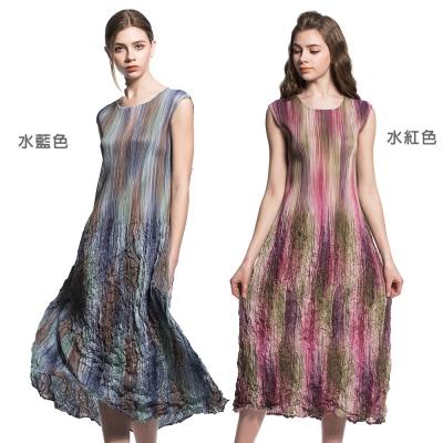 無袖圓領暈染皺摺長裙壓摺洋裝(共兩色)-玩美衣櫃