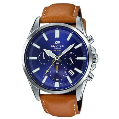EDIFICE 經典三眼時刻大錶面計時皮帶腕錶(EFV-510L-2A)-藍面x咖啡/45mm