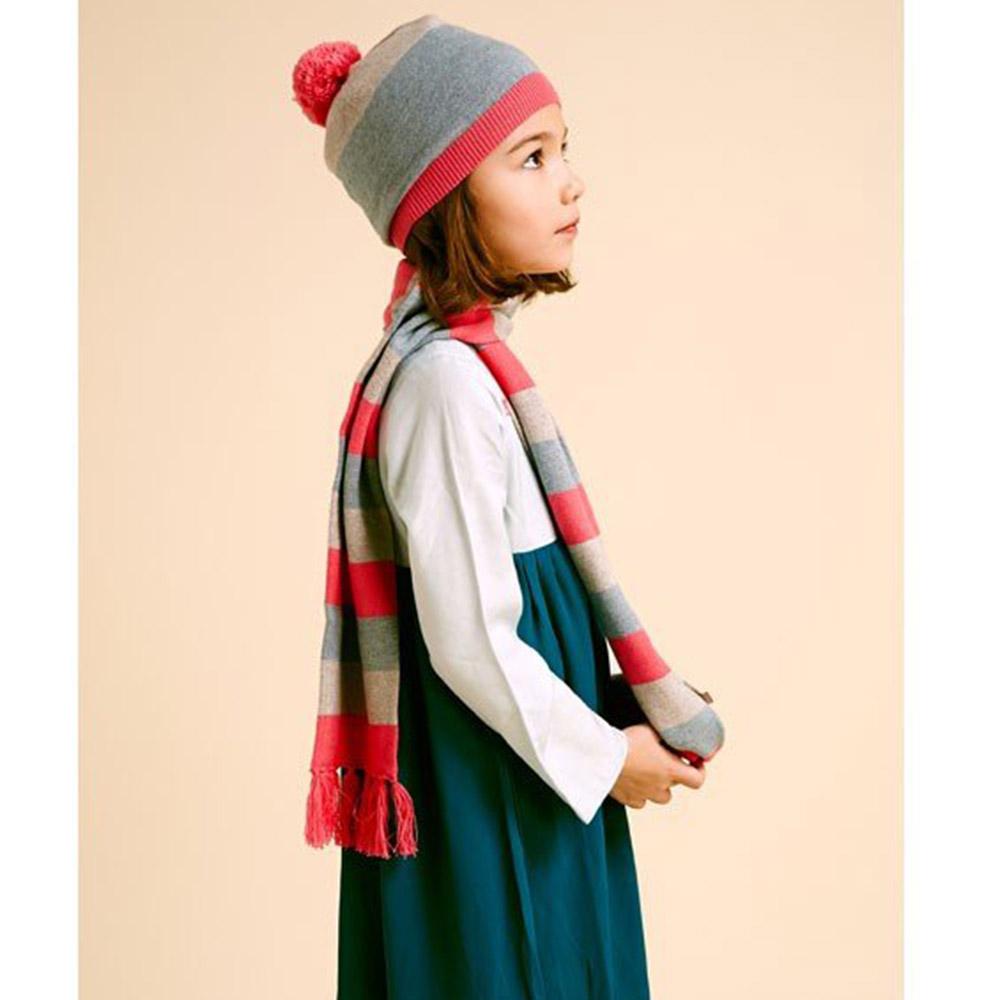 I Love Gorgeous喀什米爾羊絨條紋流蘇圍巾-亮桃紅