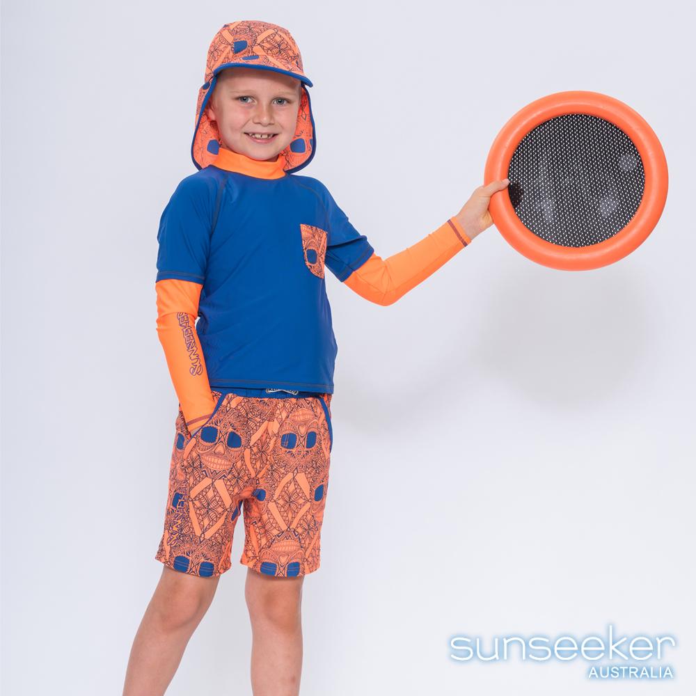 澳洲Sunseeker泳裝抗UV防曬長袖泳衣+泳褲+防曬泳帽-小男童三件式/亮橘