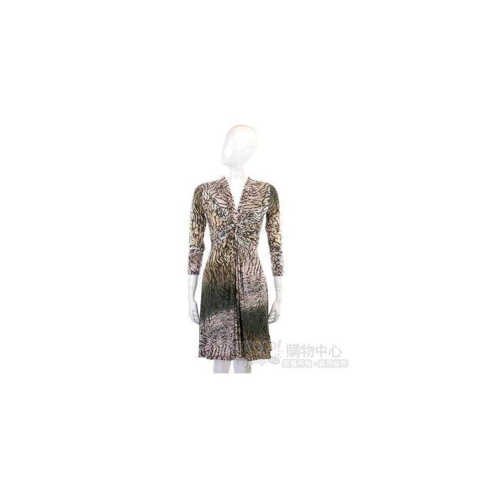 ALLUDE 粉/綠色漸層豹紋抓摺設計長袖洋裝