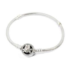 Pandora 潘朵拉 詩情花意鋯石 圓珠釦蛇環純銀手鍊手環