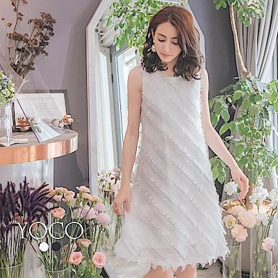 東京著衣-yoco 浪漫雅緻羽毛飄逸質感無袖洋裝-S.M.L(共二色)