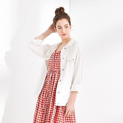 CACO-抓鬚寬鬆斜紋外套(兩色)-女【PSH133】