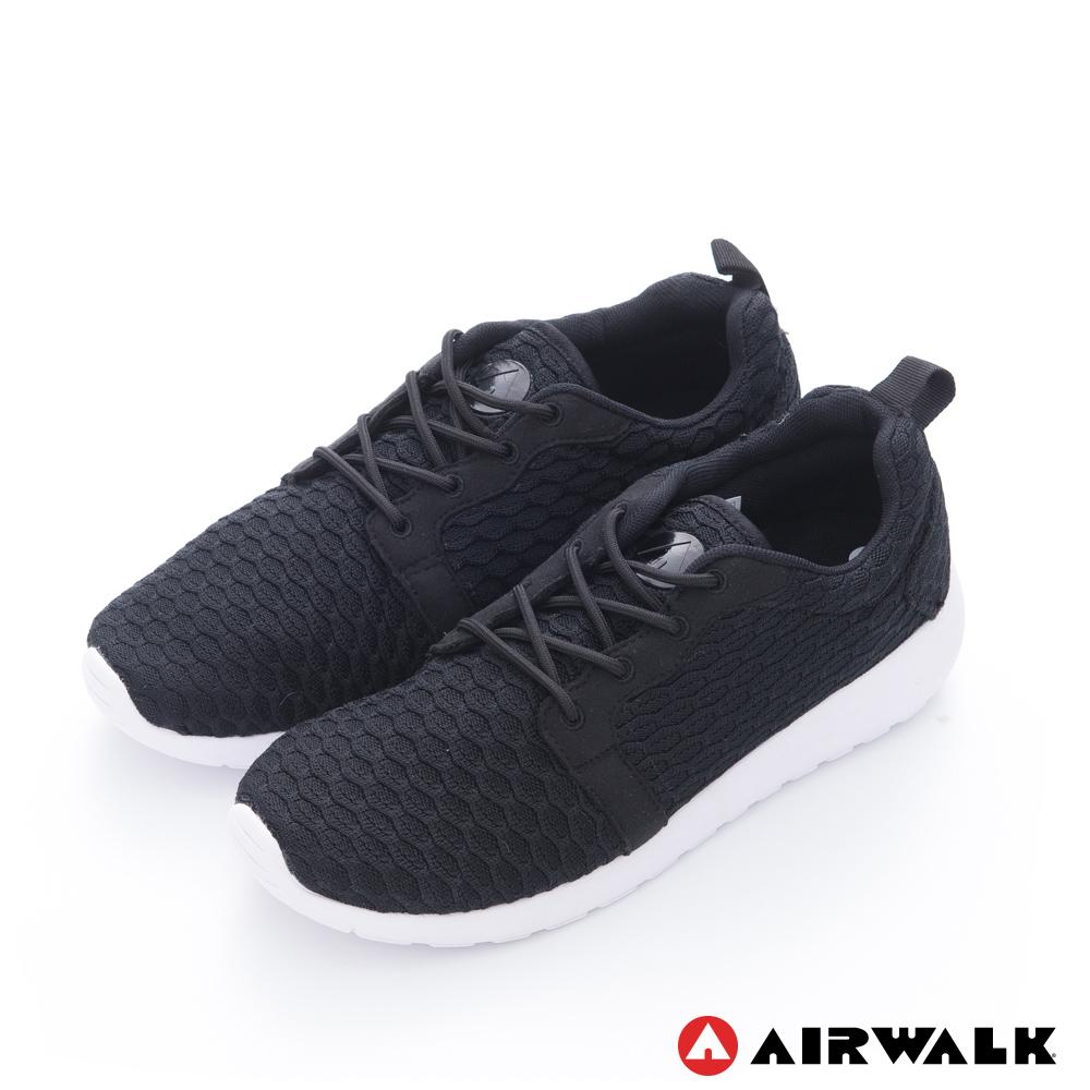【AIRWALK】蜂巢式休閒慢跑鞋運動鞋-男款-黑色