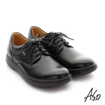 A.S.O 職場通勤 超能耐油感牛皮綁帶紳士皮鞋 黑色