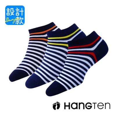 HANG TEN   設計款 簡約條紋襪6雙入組_丈青(HT-A21004)