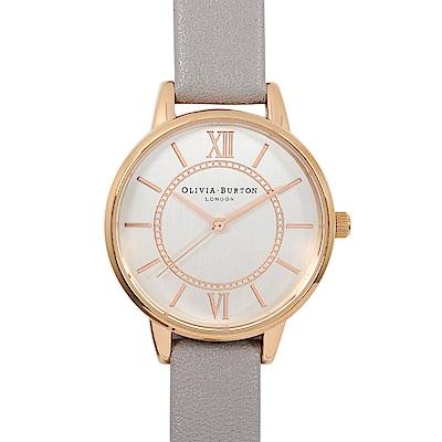 Olivia Burton 英倫復古手錶 夢幻樂園 灰色真皮錶帶玫瑰金錶框30mm