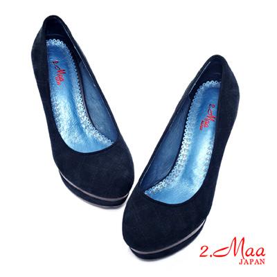 2.Maa 流行時尚~進口羊麂皮精緻高跟包鞋-個性藍
