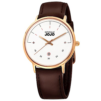 NATURALLY JOJO 簡約風尚時尚腕錶-白x玫瑰金/36mm