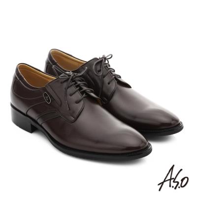 A.S.O 菁英通勤 真皮綁帶奈米紳士鞋 咖啡色