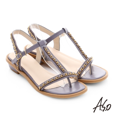 A.S.O 嬉皮假期 金屬鍊條拼接牛皮T字涼鞋 淺紫色