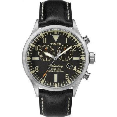 TIMEX-雙眼計時腕錶Waterbury Chronograph系列-黑/黑帶- 42 mm