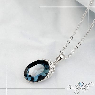 伊飾晶漾iSCrystal 湛藍圓晶 菱格切割項鍊
