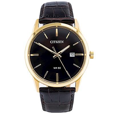 CITIZEN星辰 紳士風範壓紋皮革石英腕錶(BI5002-06E)-黑/39mm