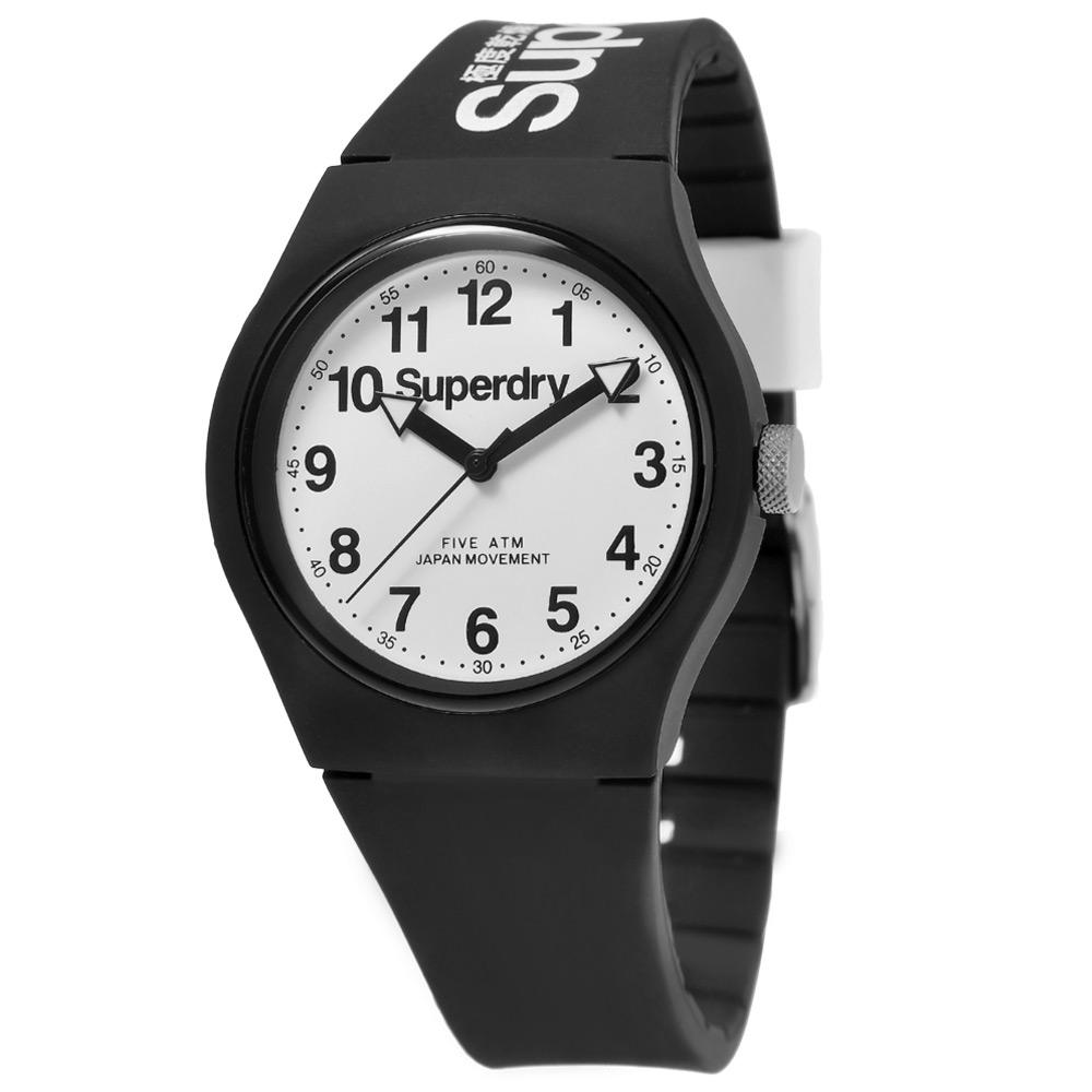 Superdry 極度乾燥 多彩 矽膠 運動腕錶-黑帶/白面/37mm