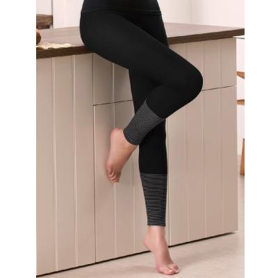華歌爾 一枚兩役保暖M-LL發熱褲(條紋黑)