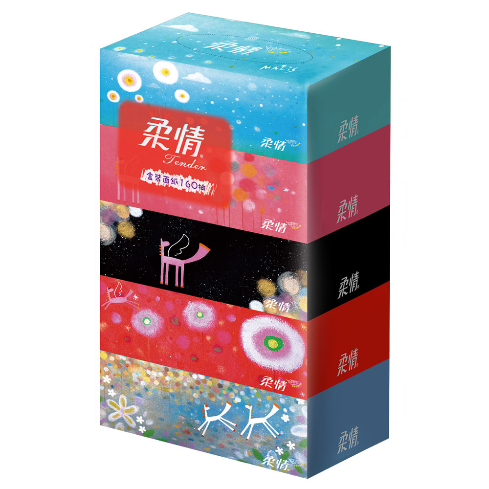柔情盒裝面紙200抽x5盒/串-馬里斯