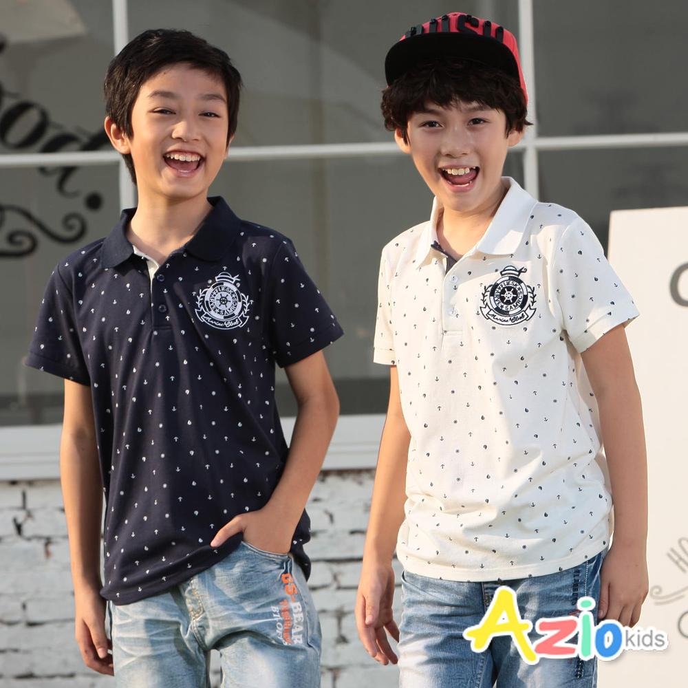 Azio Kids-大童‧海軍風滿版船錨帆船POLO衫(丈青)