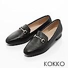 KOKKO -雅緻金屬扣環方頭休閒平底鞋-經典黑