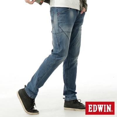 EDWIN-AB褲-迦績褲JERSEYS剪接立體牛仔褲-男-石洗藍