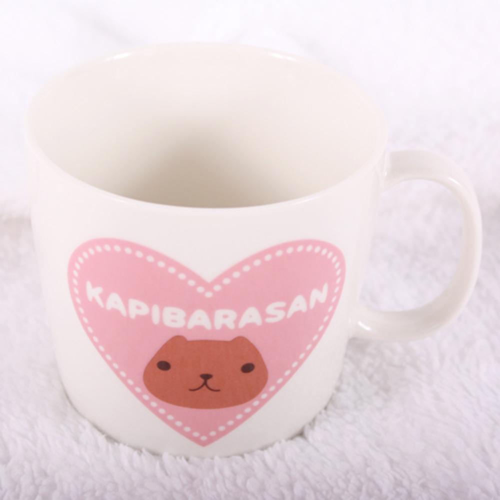 Kapibarasan 水豚君愛心印花馬克杯 (白款)