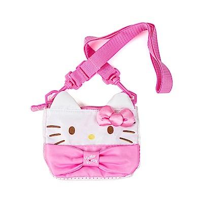 Sanrio HELLO KITTY兒童斜背袋(大臉粉緞帶)