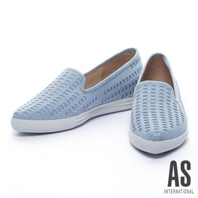 休閒鞋 AS 牛仔風格打洞造型羊麂皮厚底休閒鞋-天空藍