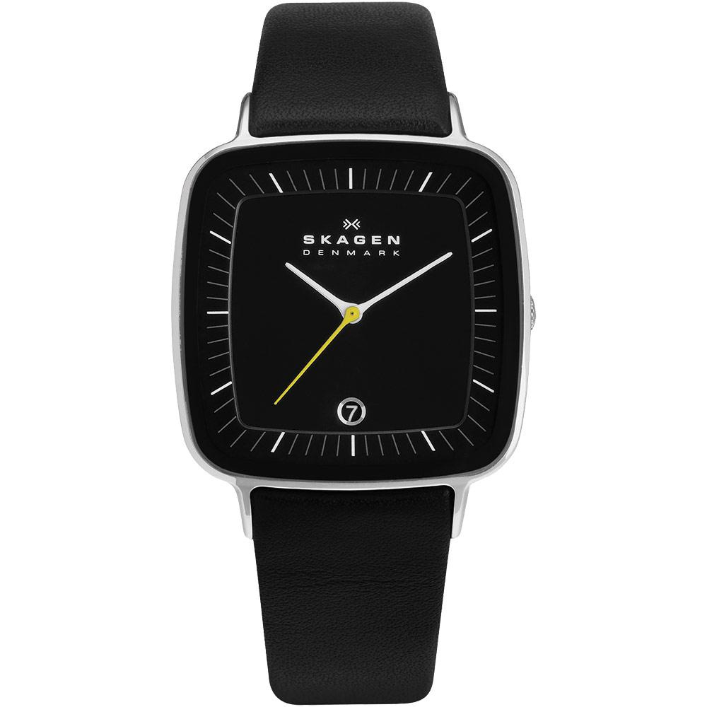 SKAGEN 設計師系列 中性時尚腕錶-黑/34mm