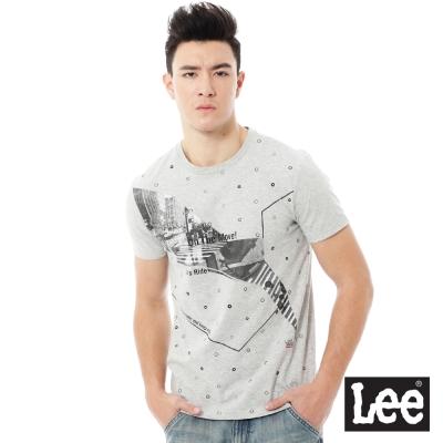 Lee 百搭耐看圓領照片印花短袖T恤-男款-灰色