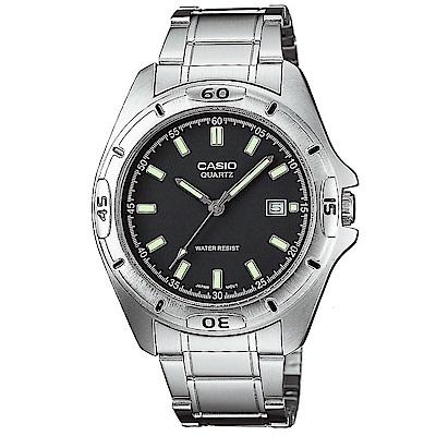 CASIO 經典時尚螢光指針紳士錶(MTP-1244D-8A)-深灰/41mm