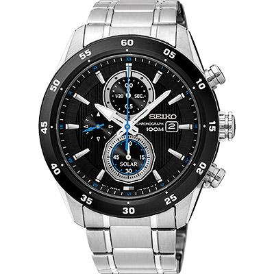 SEIKO精工 Criteria 太陽能計時腕錶(SSC531P1)-黑/42mm