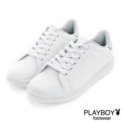 PLAYBOY簡約個性 後跟金屬色綁帶休閒鞋-白銀(女)
