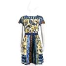 ALBERTA FERRETTI 藍色彩繪圖騰印花短袖洋裝