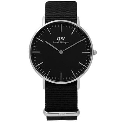 DW Daniel Wellington Classic 尼龍手錶-黑色 /36mm