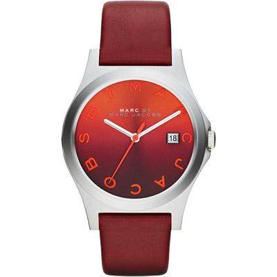 Marc Jacobs Baker 魔幻漸層時尚腕錶-漸層x深紅/36mm