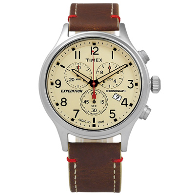 TIMEX 天美時 INDIGLO 美國指標戶外玩家三環計時真皮手錶-米x咖啡/42mm
