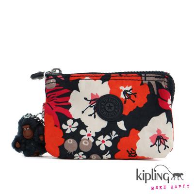 Kipling-手拿零錢包-日式靛藍花卉