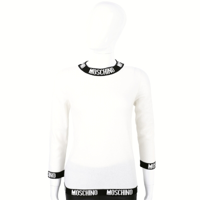MOSCHINO-白色品牌字母設計羊毛針織上衣