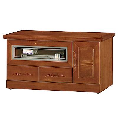 品家居 瑪佩爾3.9尺樟木實木長櫃/電視櫃-117x50x62cm免組