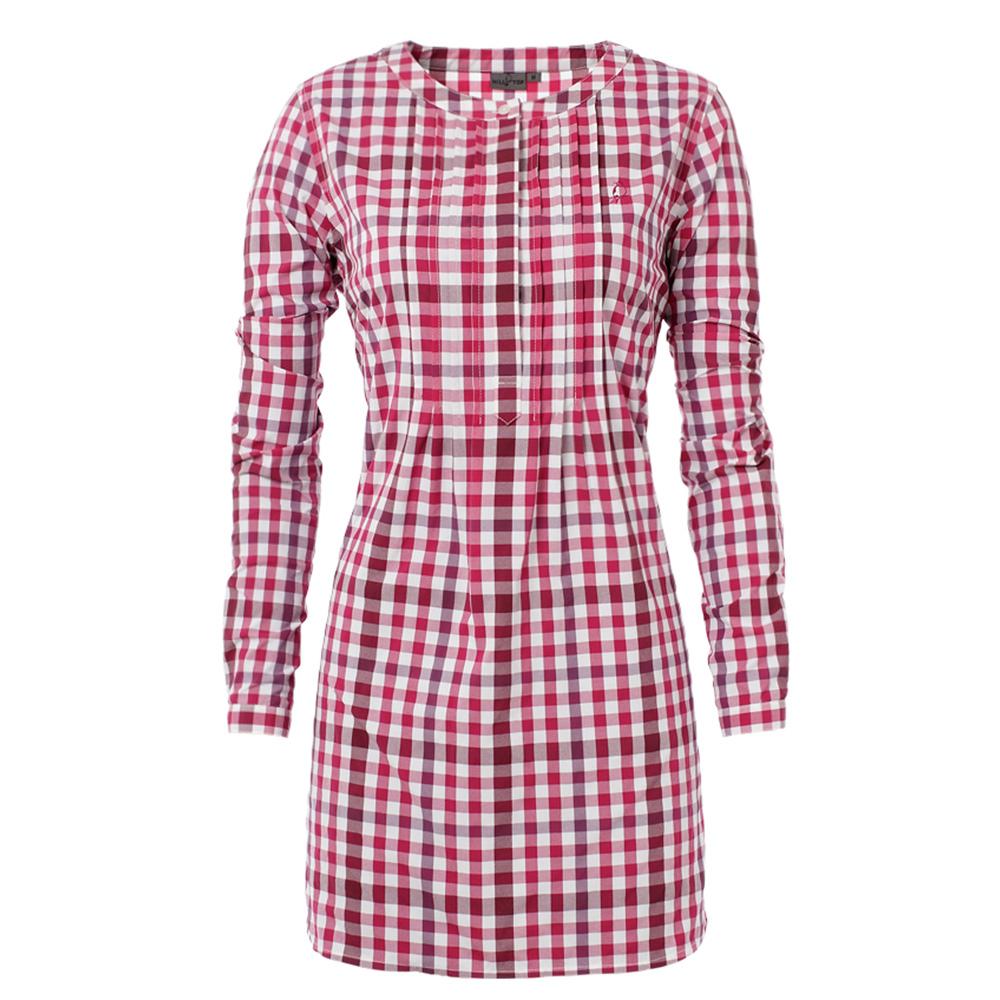 【hilltop山頂鳥】女款吸濕快乾長版襯衫S05F48-紫紅/深紫紅