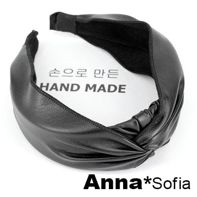 AnnaSofia 抓皺皮革璇結 韓式寬髮箍(黑系)