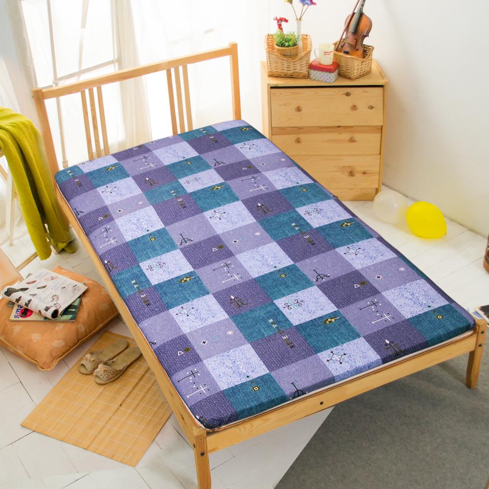 路燈-藍冬夏兩用折疊床墊單人