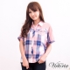 Victoria 飛鼠袖格紋襯衫-女-藍 product thumbnail 1