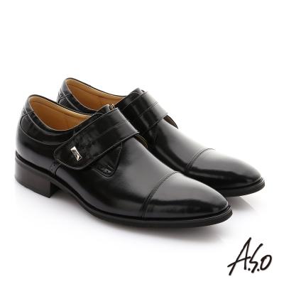 A.S.O 勁步雙核心 鏡面牛皮魔鬼氈奈米紳士鞋 黑色