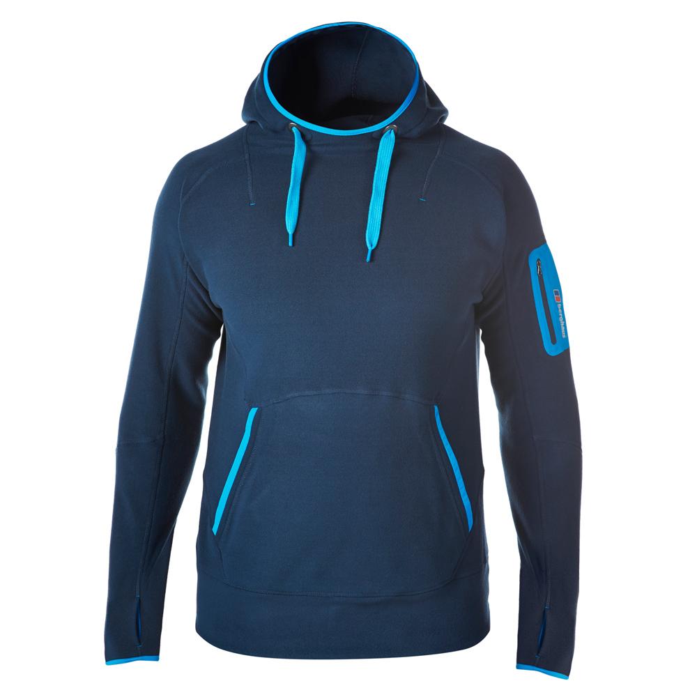 【Berghaus 貝豪斯】男款 FONT 連帽刷毛保暖上衣H51M03-藍