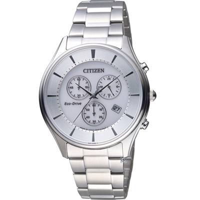 CITIZEN 星辰 經典紳士光動能腕錶(AT2360-59A)-白/40mm
