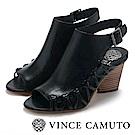 Vince Camuto 側邊編織魚口粗高跟涼鞋-黑色