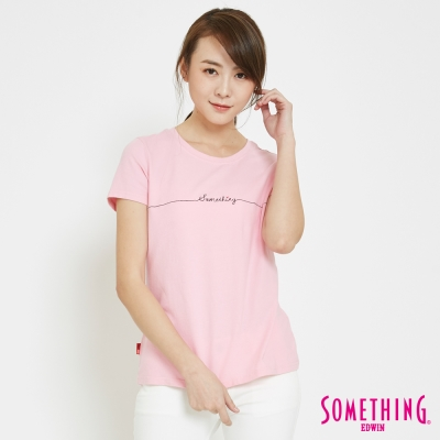 SOMETHING-愛心LOGOT恤-女-淺粉色