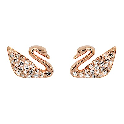 SWAROVSKI 施華洛世奇 優雅天鵝造型水晶玫瑰金耳環